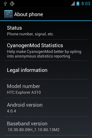 Android 4 0 4 Unofficial CyanogenMod 9 1 On HTC Explorer | XDA